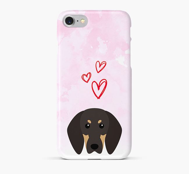 Phone Case with Coonhound Icon & Hearts