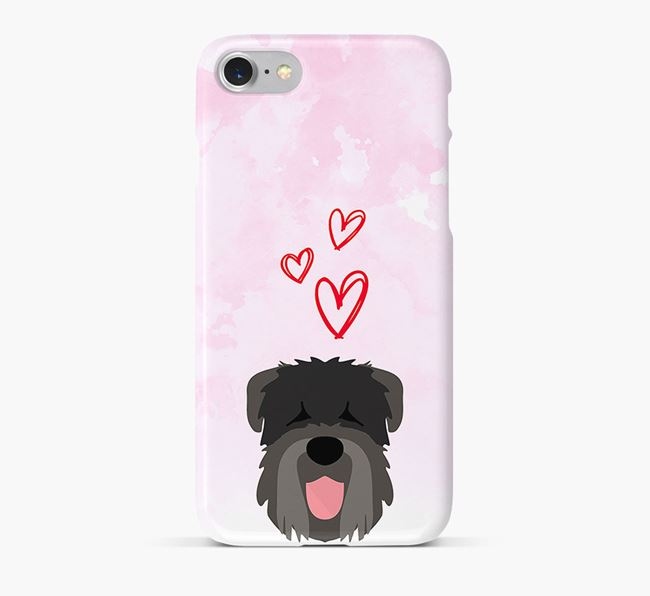 Phone Case with Black Russian Icon & Hearts