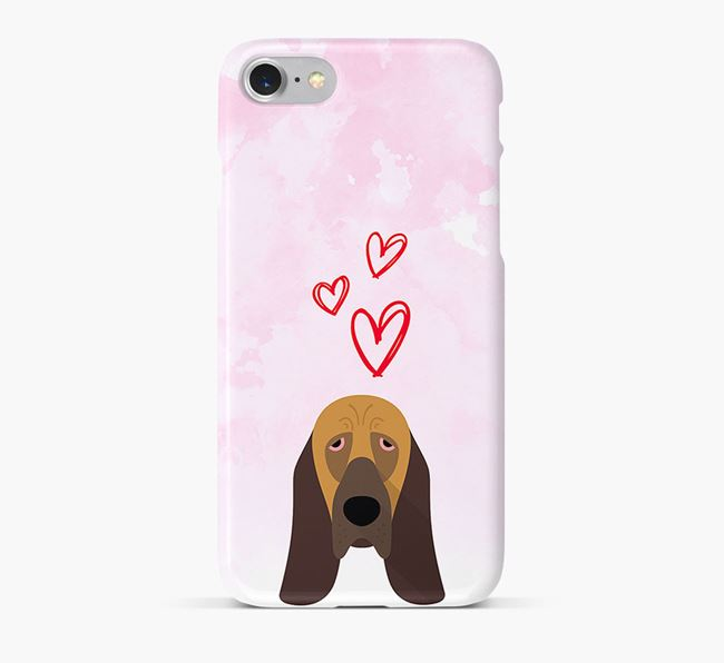 Phone Case with Bloodhound Icon & Hearts