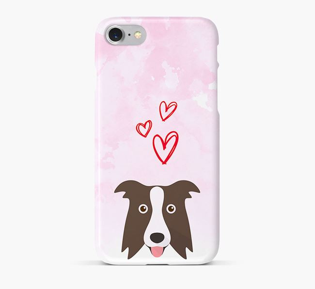 Phone Case with Border Collie Icon & Hearts