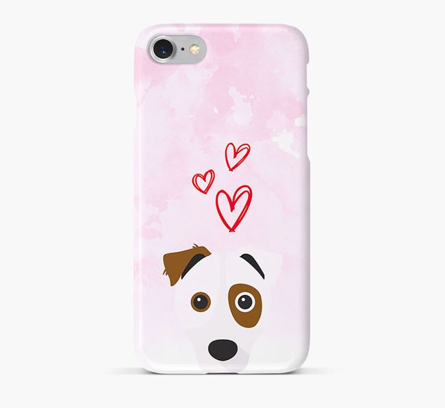 Phone Case with Border Jack Icon & Hearts