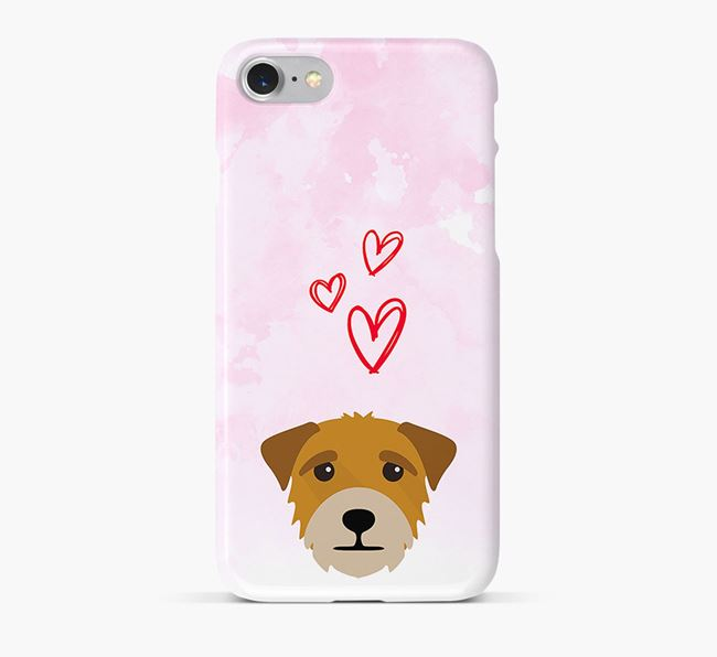 Phone Case with Border Terrier Icon & Hearts