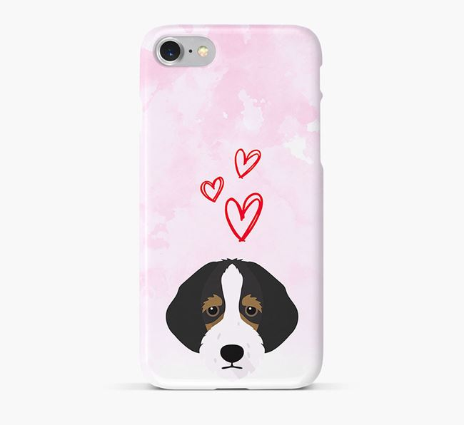 Phone Case with Bordoodle Icon & Hearts