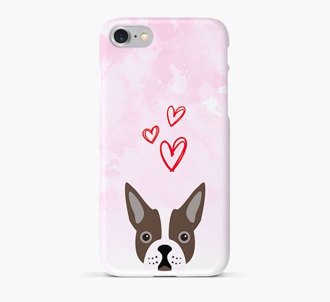 Phone Case with Boston Terrier Icon & Hearts