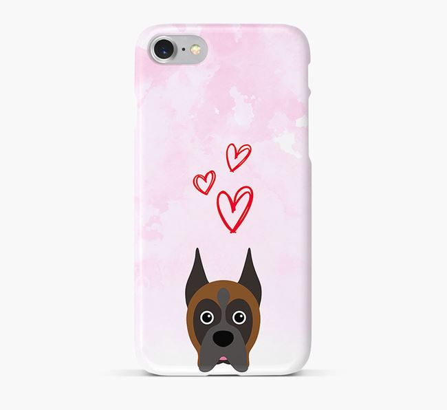 Phone Case with Boxer Icon & Hearts