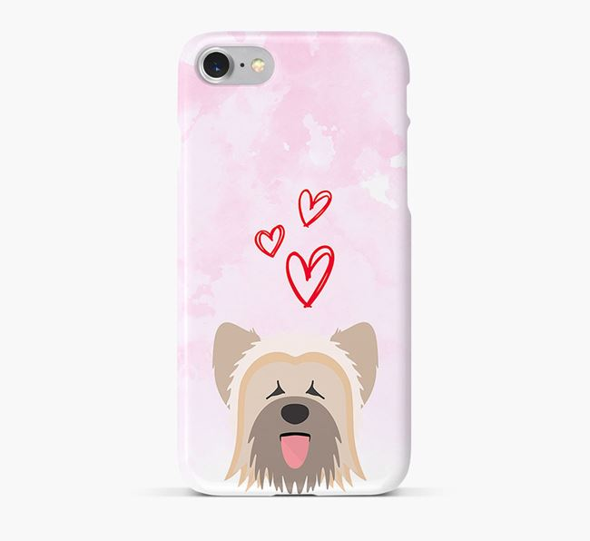 Phone Case with Briard Icon & Hearts