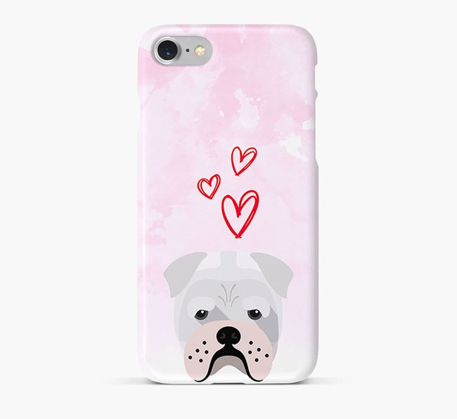 Phone Case with Bull Pei Icon & Hearts
