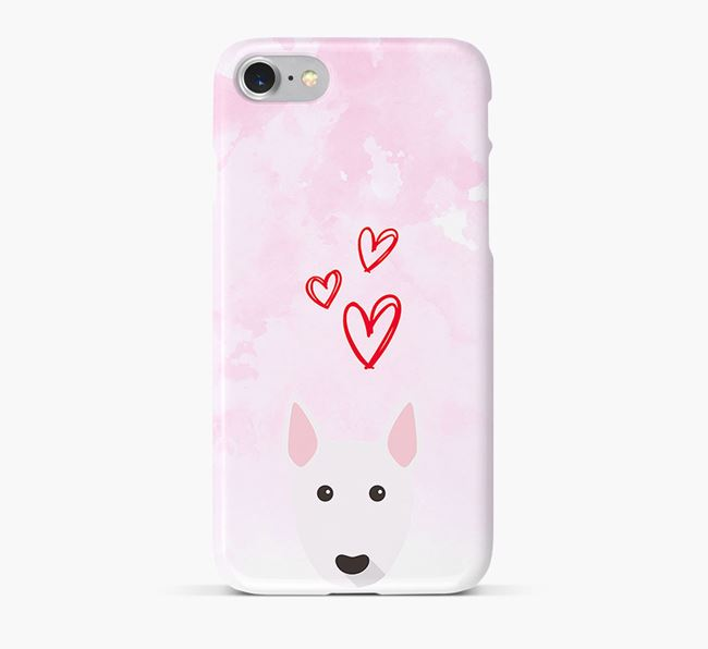 Phone Case with Bull Terrier Icon & Hearts