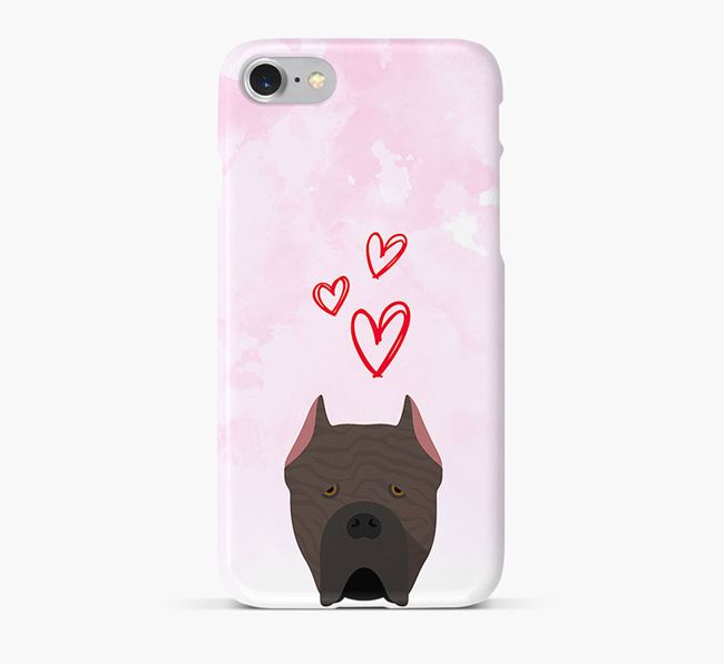 Phone Case with Cane Corso Icon & Hearts