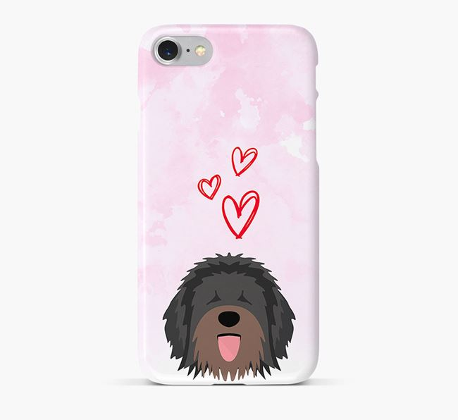 Phone Case with Catalan Sheepdog Icon & Hearts