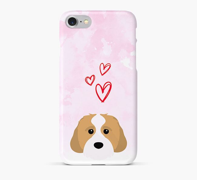 Phone Case with Cavachon Icon & Hearts