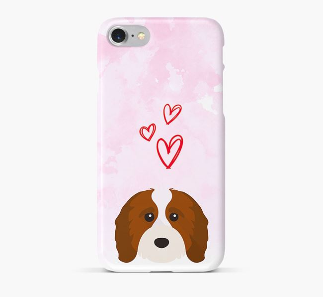 Phone Case with Cavapoo Icon & Hearts