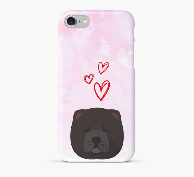 Phone Case with Chow Chow Icon & Hearts