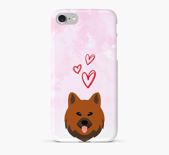 Phone Case with Chow Shepherd Icon & Hearts