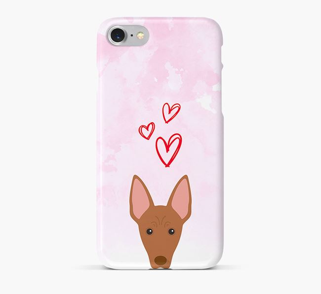 Phone Case with Cirneco Dell'Etna Icon & Hearts