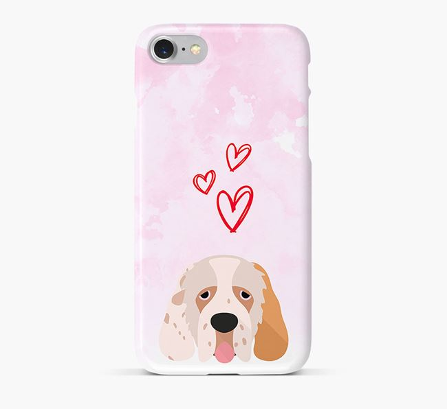 Phone Case with Clumber Spaniel Icon & Hearts
