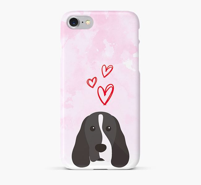 Phone Case with Cocker Spaniel Icon & Hearts