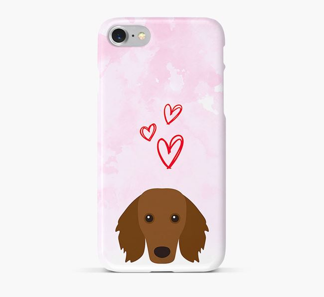 Phone Case with Dachshund Icon & Hearts