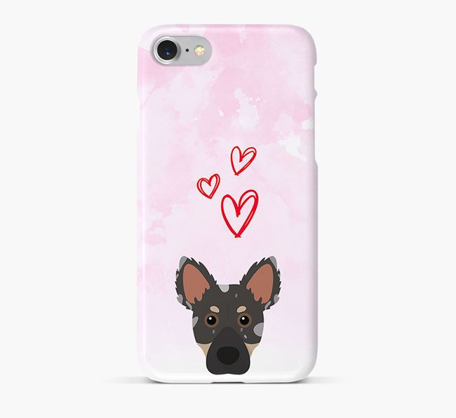 Phone Case with Dameranian Icon & Hearts