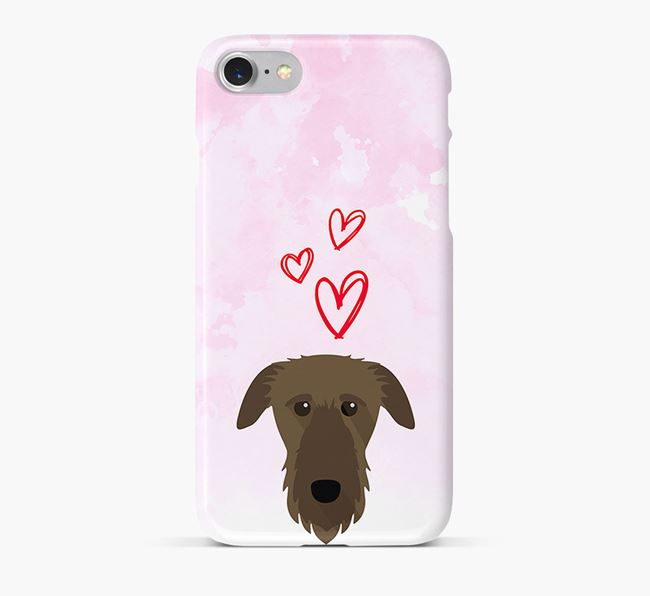 Phone Case with Deerhound Icon & Hearts