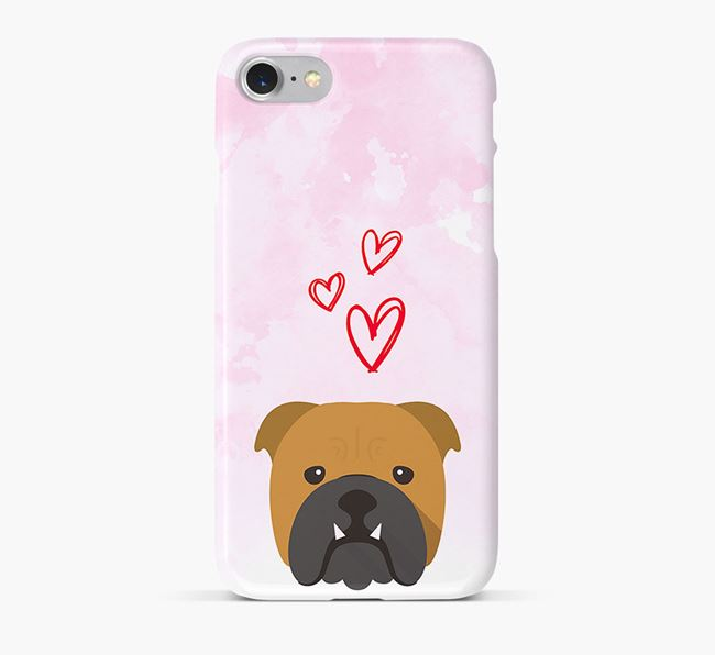 Phone Case with Bulldog Icon & Hearts