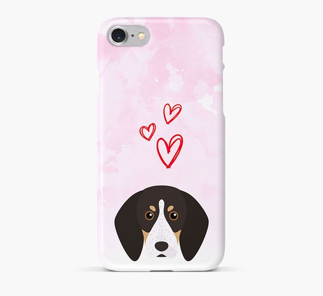 Phone Case with English Coonhound Icon & Hearts