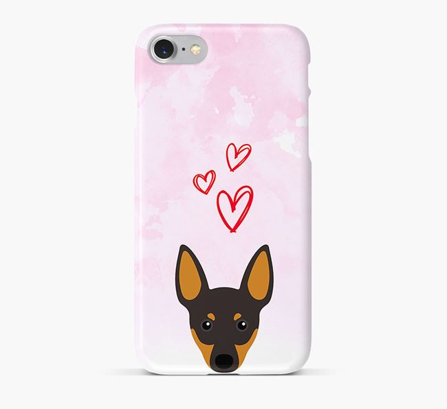 Phone Case with Toy Terrier Icon & Hearts