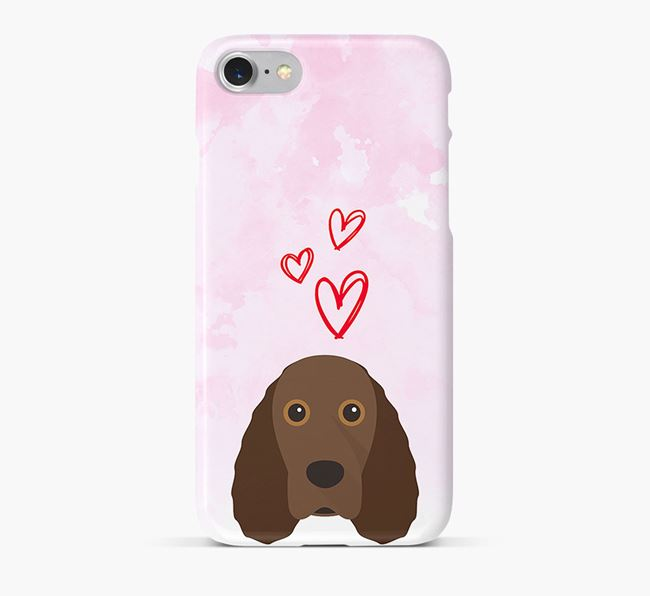 Phone Case with Field Spaniel Icon & Hearts