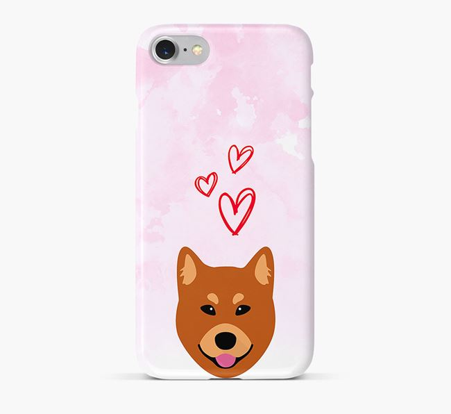 Phone Case with Finnish Spitz Icon & Hearts