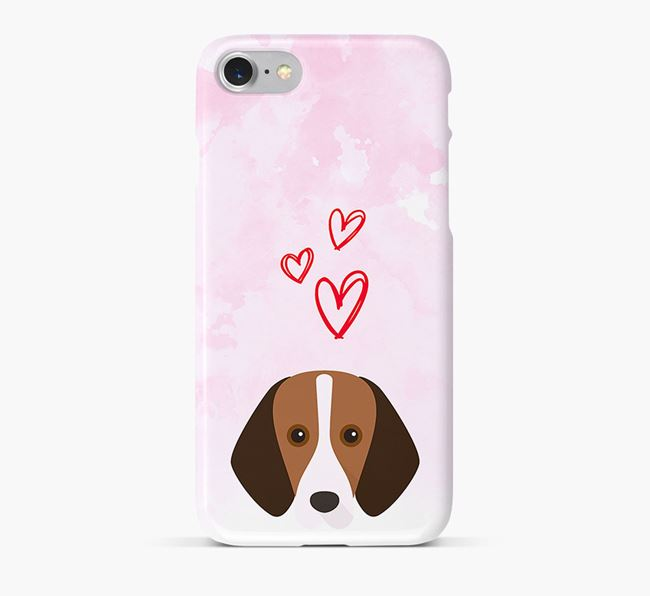Phone Case with Foxhound Icon & Hearts