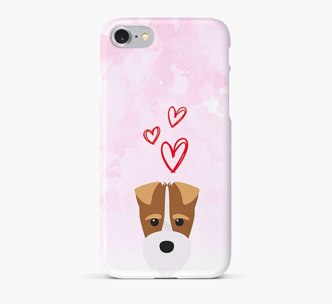 Phone Case with Fox Terrier Icon & Hearts