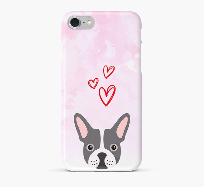Phone Case with Frenchie Icon & Hearts