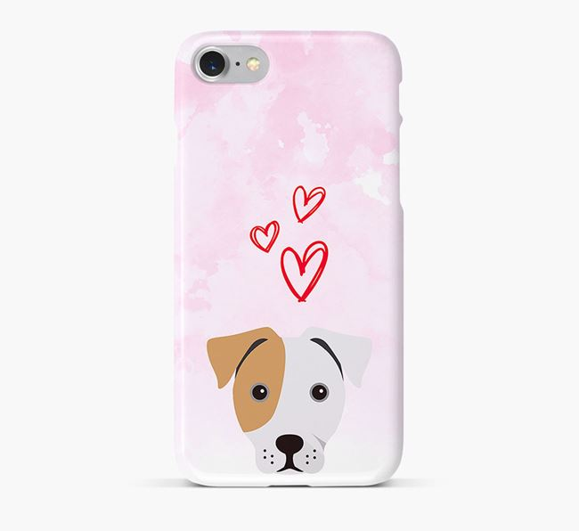 Phone Case with French Bull Jack Icon & Hearts