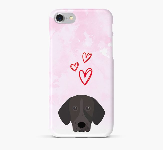 Phone Case with Shorthaired Pointer Icon & Hearts