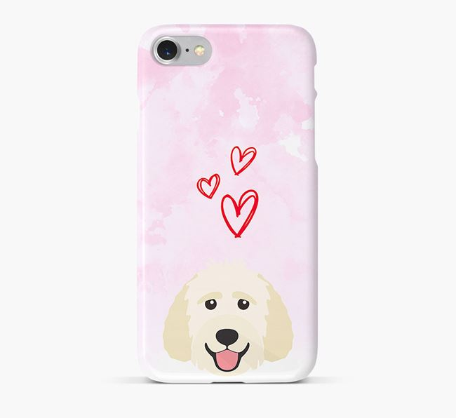 Phone Case with Goldendoodle Icon & Hearts