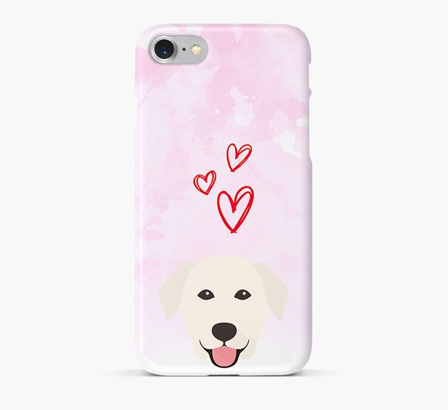 Phone Case with Golden Lab Icon & Hearts