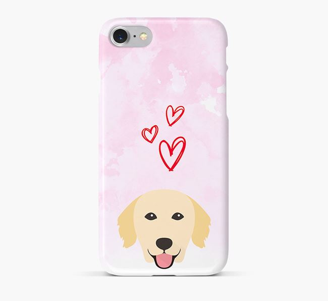 Phone Case with Golden Retriever Icon & Hearts