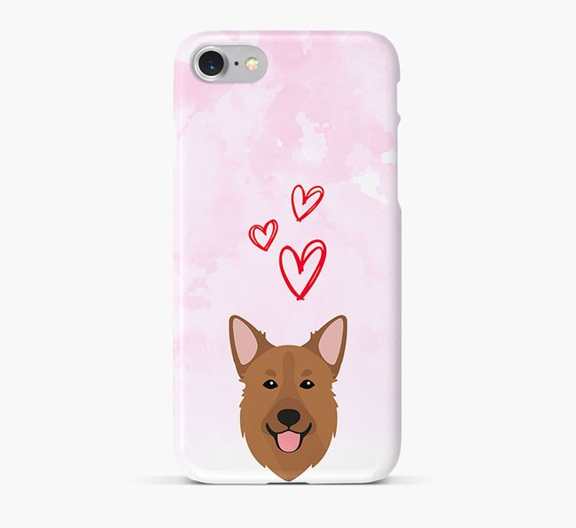 Phone Case with Golden Shepherd Icon & Hearts