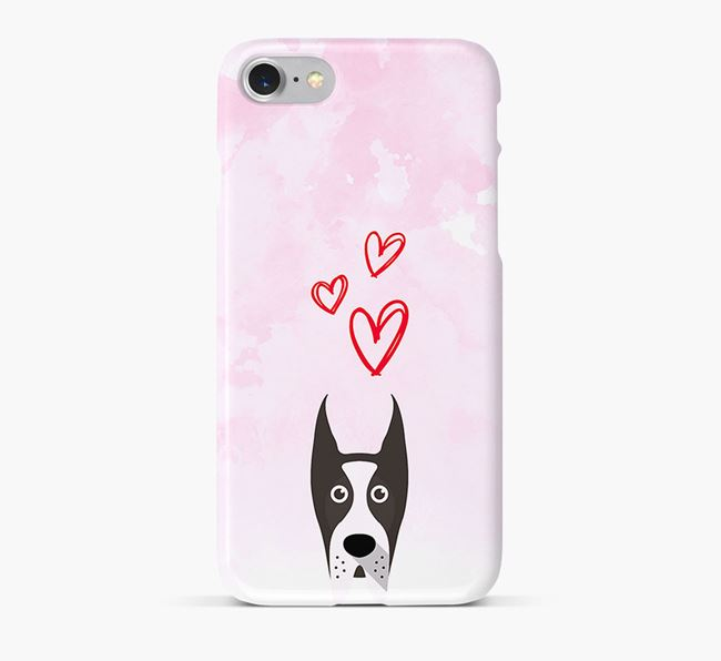 Phone Case with Great Dane Icon & Hearts