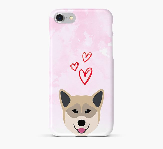 Phone Case with Greenland Dog Icon & Hearts