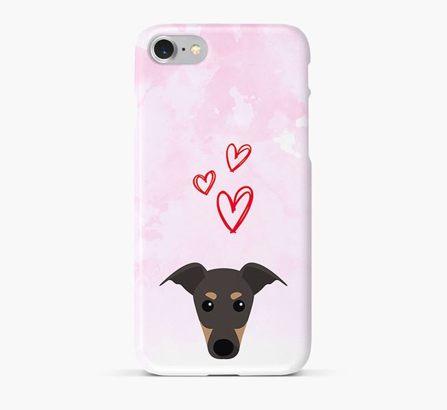 Phone Case with Greyhound Icon & Hearts