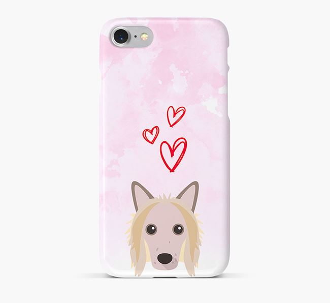 Phone Case with Chinese Crested Icon & Hearts