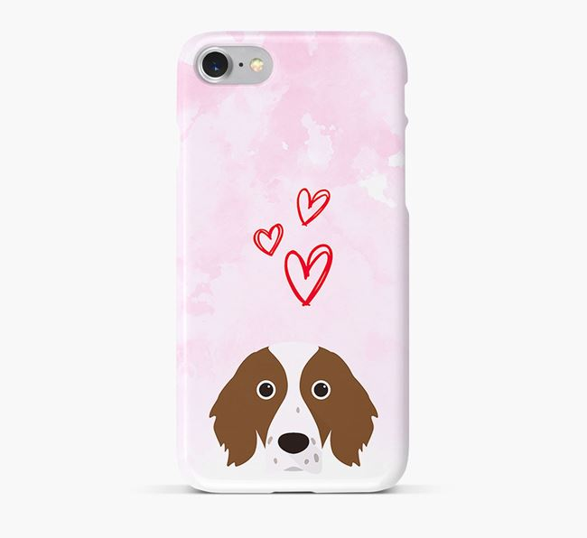 Phone Case with Red & White Setter Icon & Hearts