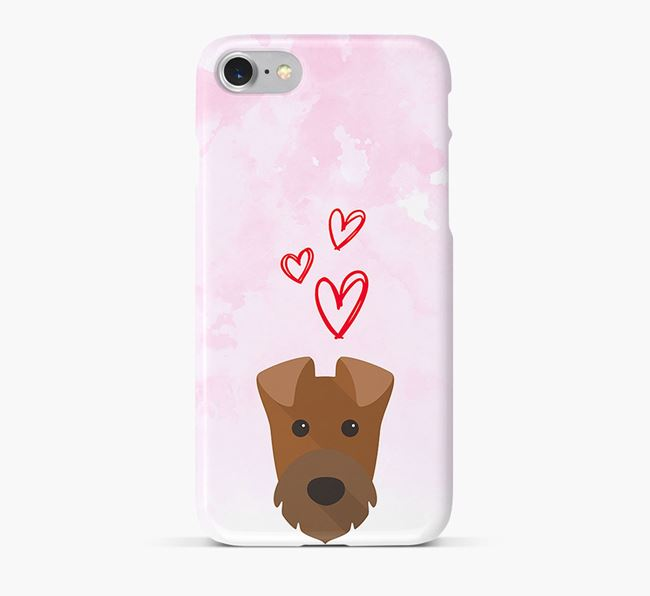Phone Case with Irish Terrier Icon & Hearts