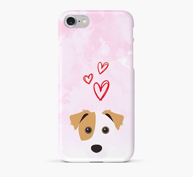 Phone Case with Jack Russell Icon & Hearts