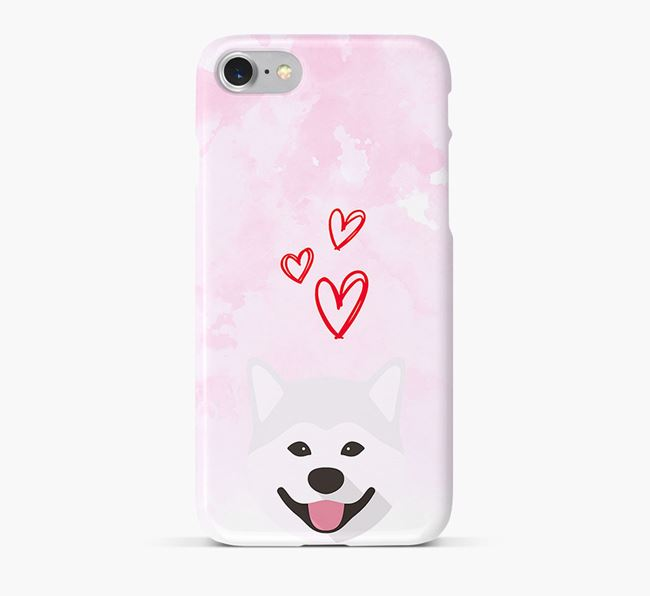 Phone Case with Akita Inu Icon & Hearts