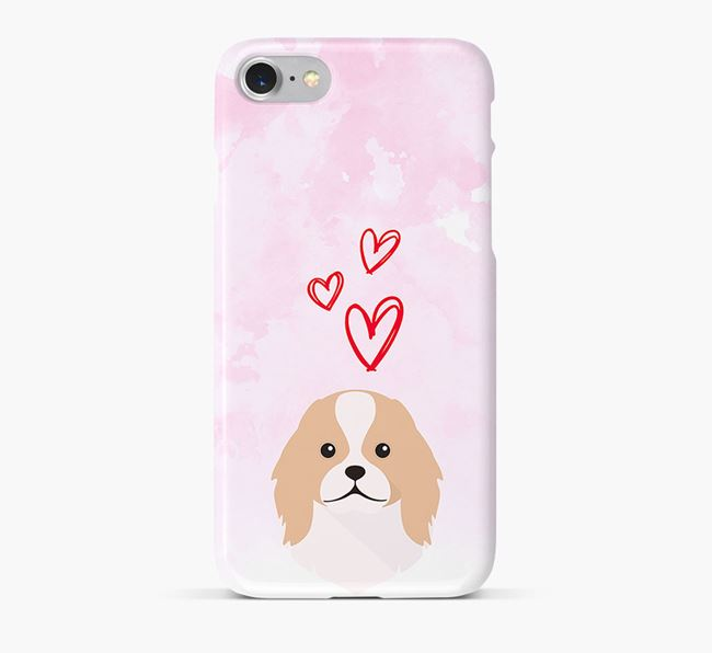 Phone Case with Japanese Chin Icon & Hearts