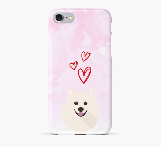 Phone Case with Japanese Spitz Icon & Hearts