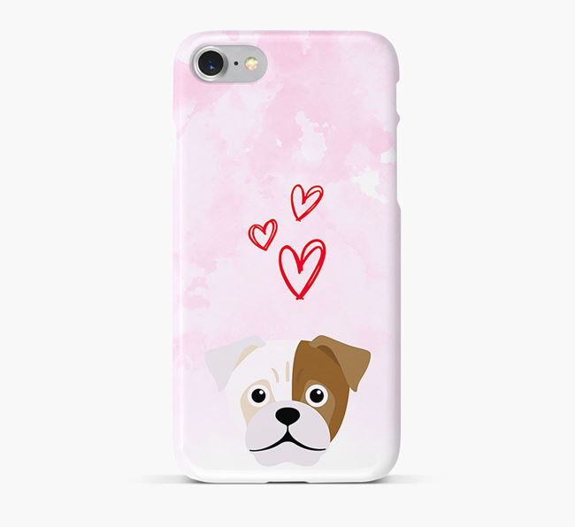 Phone Case with Jug Icon & Hearts