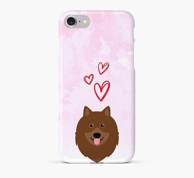 Phone Case with Keeshond Icon & Hearts